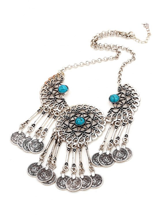 Coin Tassel Pendant Necklace - BLUE  Mobile