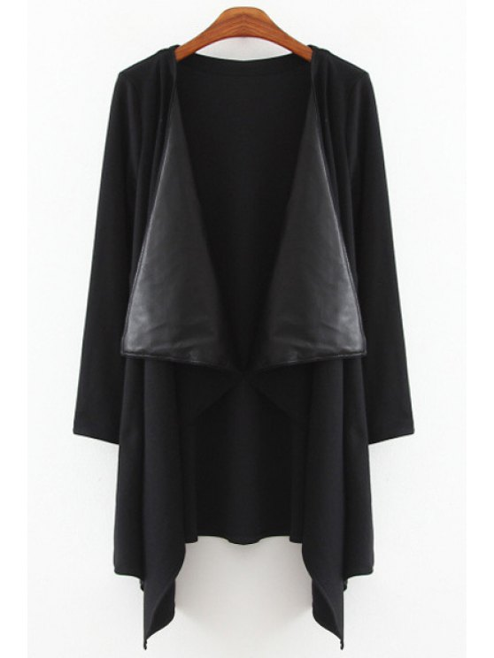 outfits Faux Leather Splicing Long Sleeve Trench Coat - BLACK L