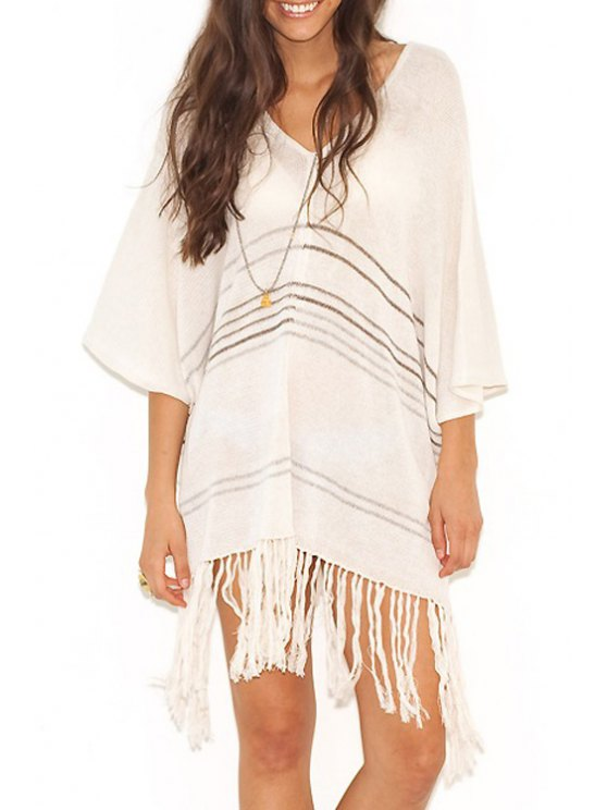 women Stripes V Neck 3/4 Sleeve Kint Cover Up - WHITE ONE SIZE(FIT SIZE XS TO M)