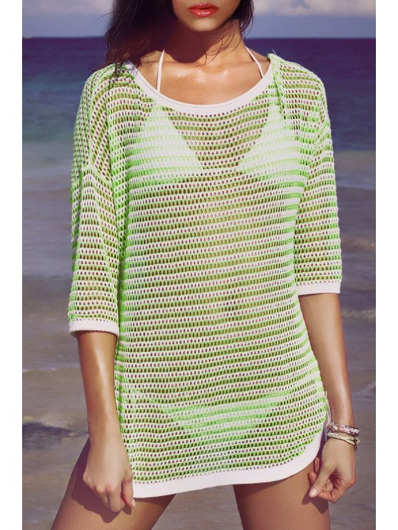 women's See-Through 3/4 Sleeve Kint Cover Up - GREEN ONE SIZE(FIT SIZE XS TO M)