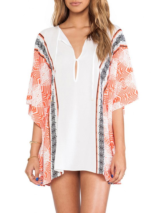 ladies Print Spliced V Neck Half Sleeve Cover Up - WHITE ONE SIZE(FIT SIZE XS TO M)