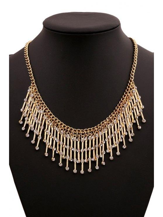 new Rhinestone Tassel Necklace - GOLDEN