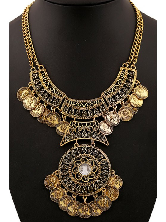 outfits Rhinestone Coin Necklace - GOLDEN