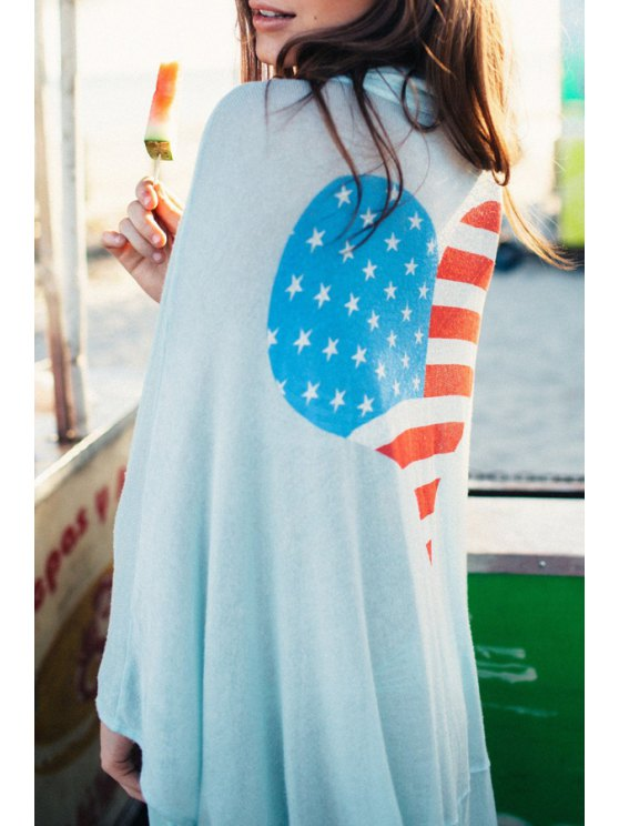 best American Flag Print Cover Up - LIGHT BLUE ONE SIZE(FIT SIZE XS TO M)