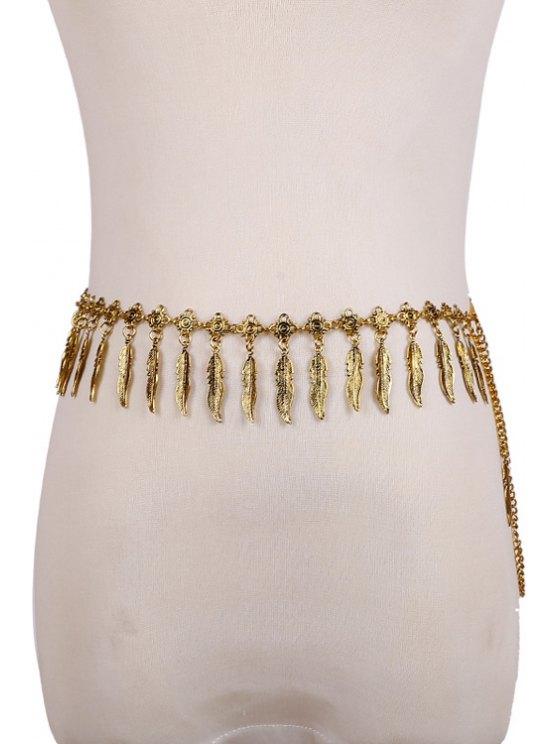 buy Leaves Pendant Waist Chain - GOLDEN