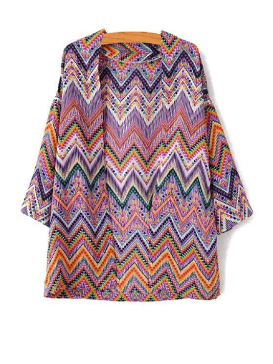 fancy Zig Zag Print Collarless 3/4 Sleeve Kimono - AS THE PICTURE S