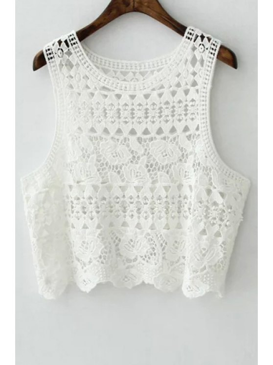 chic Crochet Flower Scoop Neck Tank Top - WHITE ONE SIZE(FIT SIZE XS TO M)