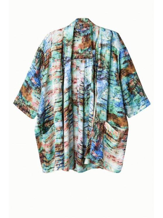 women Print Collarless Half Sleeve Kimono - AS THE PICTURE S