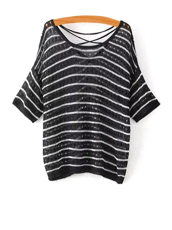 affordable Striped Hollow Half Sleeve Knitwear - BLACK ONE SIZE(FIT SIZE XS TO M)