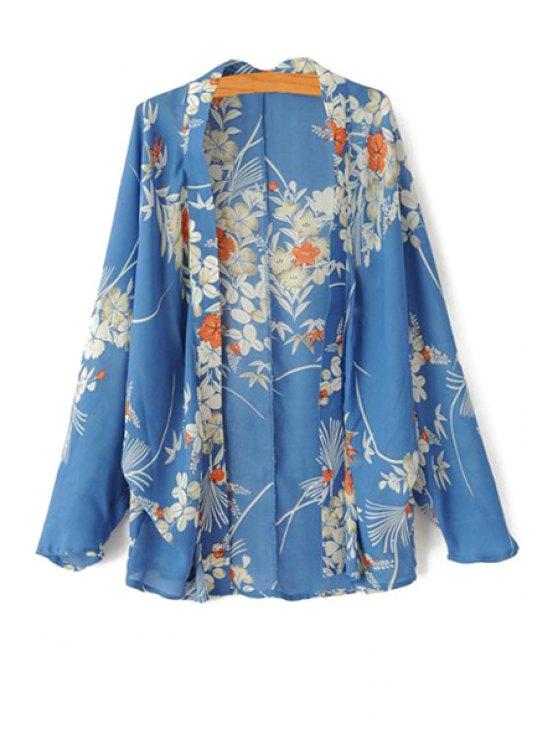 women Floral Print Long Sleeve Kimono - BLUE S