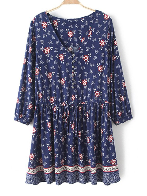outfits Tiny Floral V Neck Nine-Minute Sleeve Dress - PURPLISH BLUE XS
