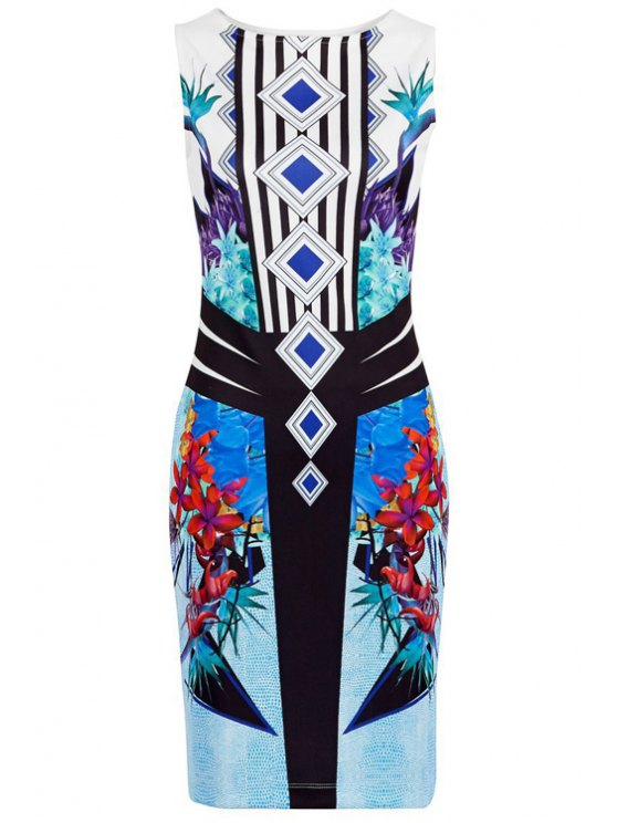 best Floral Print Stripes Bodycon Club Dress - BLUE S