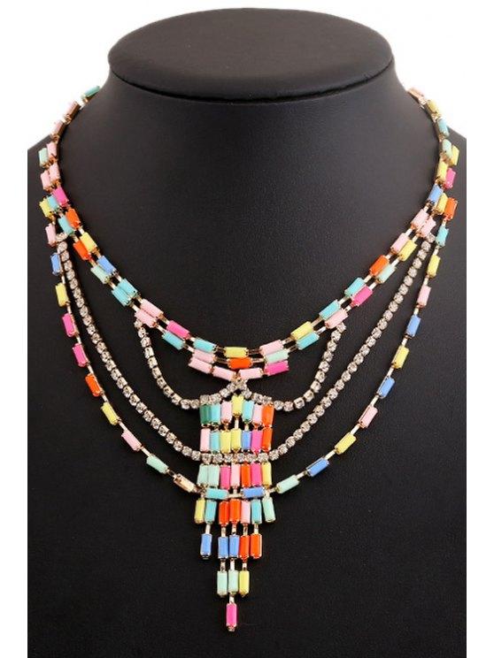 unique Colored Beads Rhinestone Necklace - COLORFUL