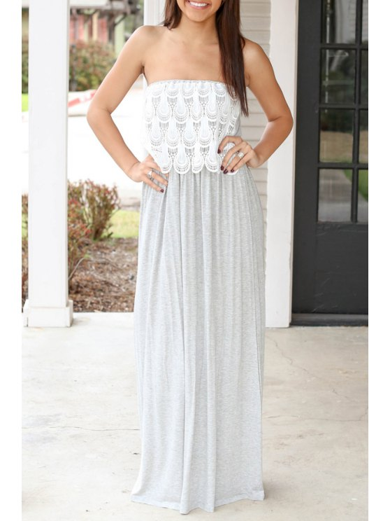shops Strapless Lace Spliced Ruffled Maxi Dress - GRAY S