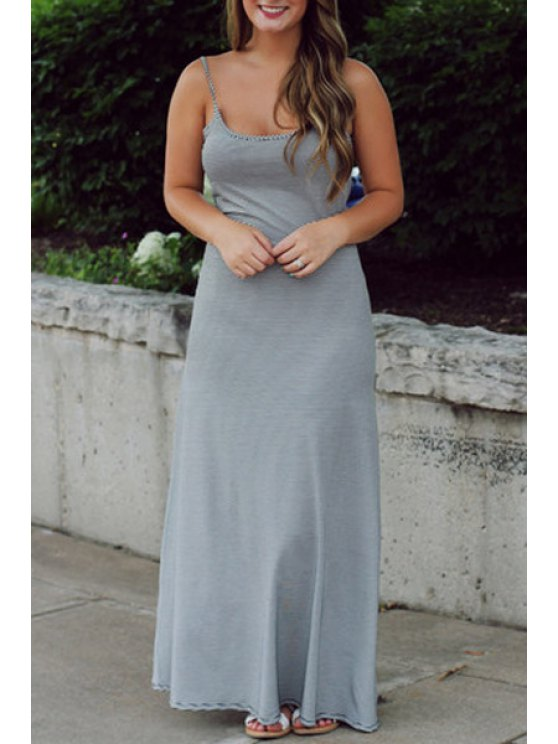 chic Gray Backless Bowknot Embellished Maxi Dress - GRAY S