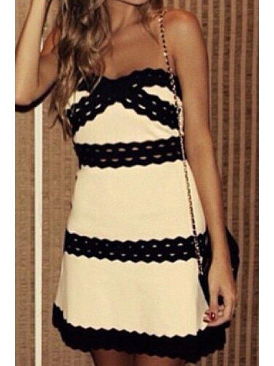 women's Strapless Color Block Stripe Sleeveless Dress - OFF-WHITE S