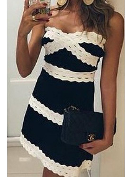 shop Strapless Color Block Stripe Sleeveless Dress - BLACK M