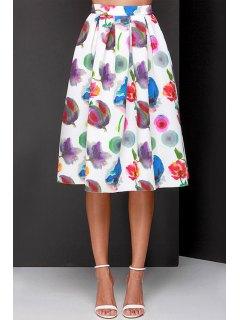 Full Flower Print A Line Midi Skirt - White Xl
