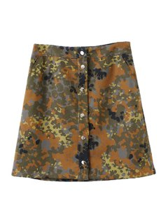 Camouflage Print A Line Skirt - Bronze-colored L