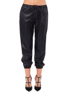 Solid Color PU Leather Tie-Up Pants - Black Xl