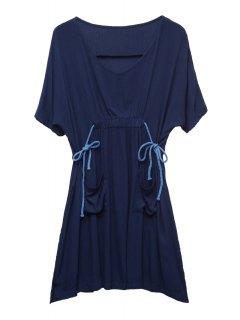 Poches Ouvertes Robe à Manches Moitié Ruffle - Bleu Violet 2xl