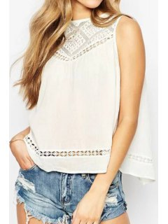Lace Spliced Hollow Tank Top - White S