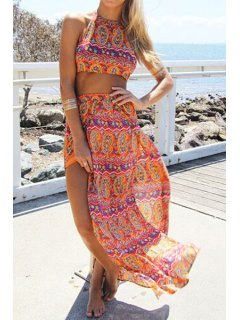 Halter Backless Crop Top + Ethnic Pattern Skirt Twinset - Orange L