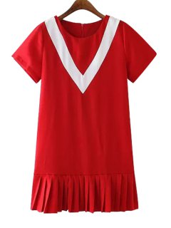 Pleated Splicing Short Sleeves Dress - Red L