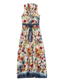 Floral Lapel Sleeveless Maxi Dress - Red With White L