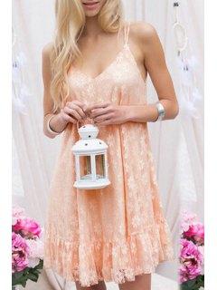 Lace Pink Spaghetti Straps Dress - Pink L