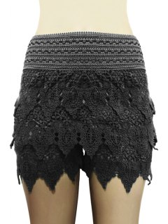 Solid Color Lace Multi-Layered Shorts - Black L