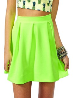 Zipper-Fly Ruffled A-Line Fluorescent Green Skirt - Neon Green Xl