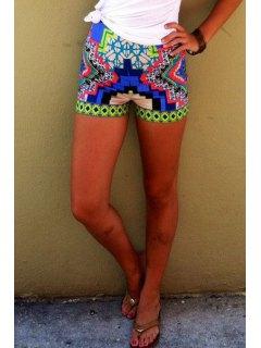 Color Block Geometric Print Shorts - M