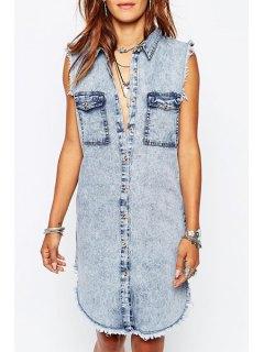 Denim Turn-Down Collar Sleeveless Dress - Blue M