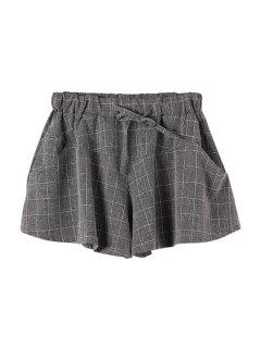Checked Drawstring Wide Leg Pantskirt - Checked M