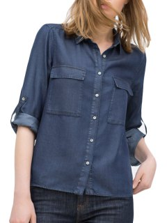 Blue Denim Shirt Neck Long Sleeve Shirt - Deep Blue L