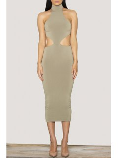 Sleeveless Lace-Up Open Back Cut Out Club Dress - Gray S