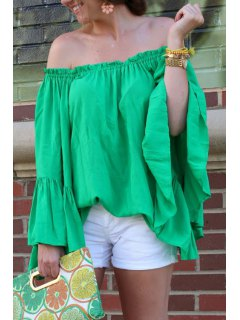 Green Off-The-Shoulder Blouse - Green S