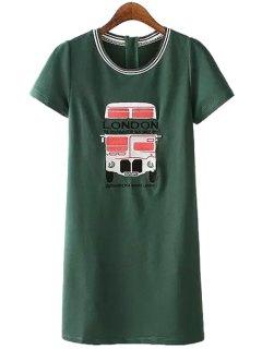 Letter Bus Pattern Short Sleeve Dress - Green S