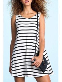 White Black Sleeveless Backless Striped Dress - White And Black S