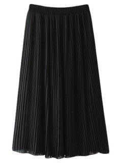 Pleated Chiffon A Line Skirt - Black L