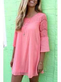 Lace Spliced 3/4 Sleeve Dress - Pink S