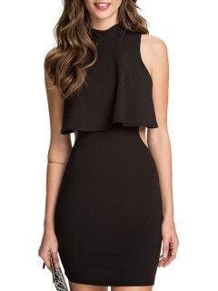 Black Open Back Sleeveless Dress - Black L