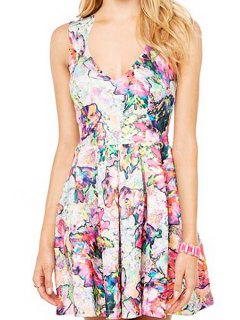 V-Neck Colorful Floral Print Sleeveless Dress - Purple M