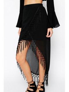 Black Chiffon Tassels High Waisted Skirt - Black M