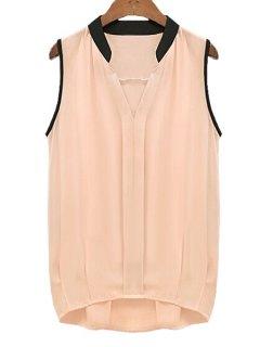V-Neck Black Edging Ruffle Sleeveless Shirt - Pink L