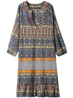 Paisley Print V Neck 3/4 Sleeve Dress - Yellow S