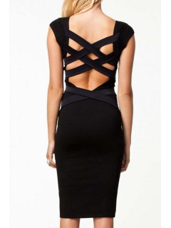 Bandage Cross Splicing Backless Short Sleeve Dress - Black L