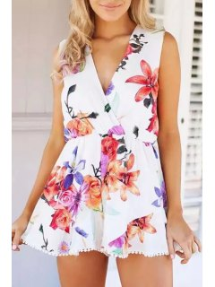 Floral Plunging Neck Sleeveless Playsuit - Red With White Xl