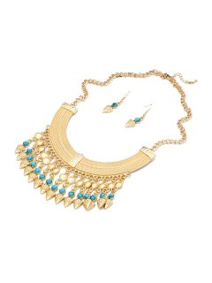Turquoise Inlaid Necklace And Earrings - Blue
